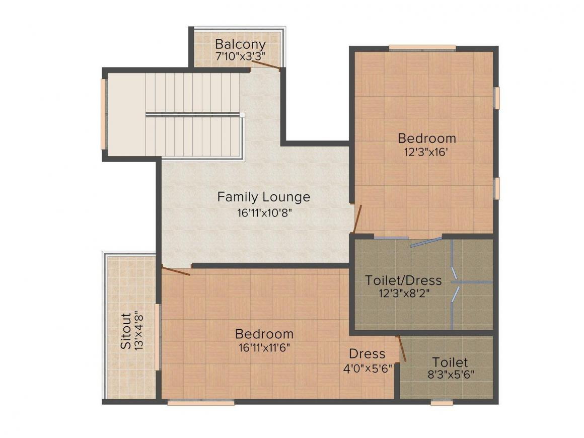 Arham Felicia Floor Plan: 4 BHK Unit with Built up area of 3252 sq.ft 2