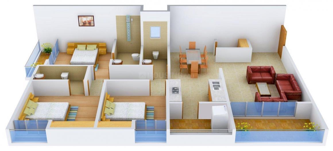 Floor Plan Image of 0 - 1575 Sq.ft 3 BHK Apartment for buy in Pushparaj Platinum