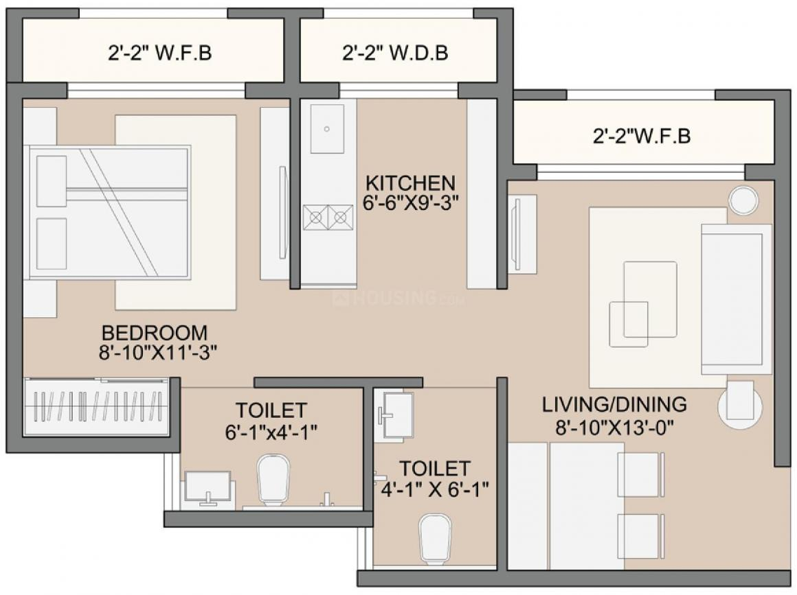 Sunteck West World 2 Tivri Naigaon East Floor Plan: 1 BHK Unit with Built up area of 284 sq.ft 1