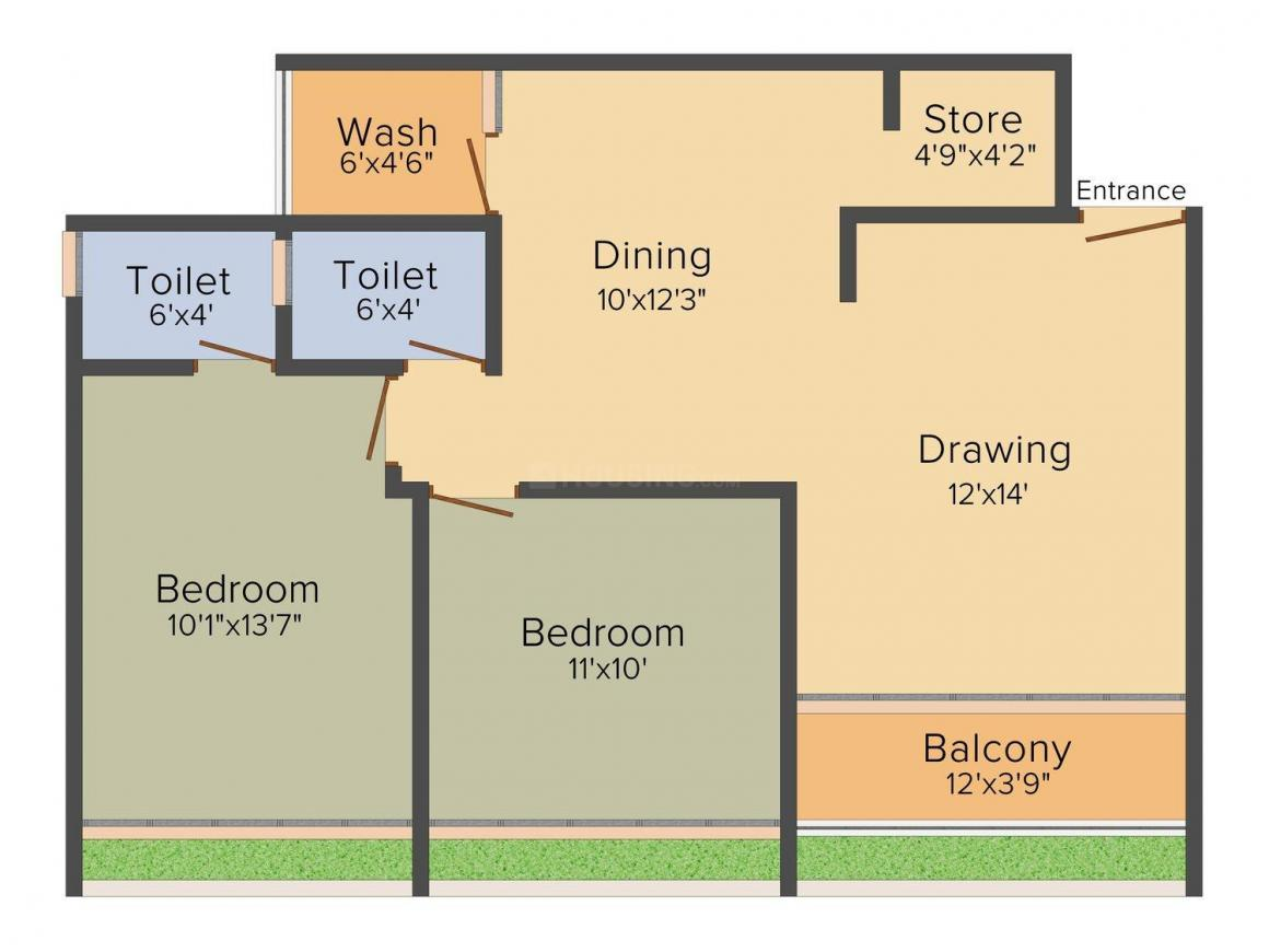 Siddhi Ganesh Sandal Wood  Floor Plan: 2 BHK Unit with Built up area of 1323 sq.ft 1