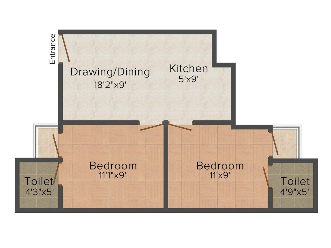 Floor Plan Image of 0 - 850 Sq.ft 2 BHK Apartment for buy in Pratham Heights - 2