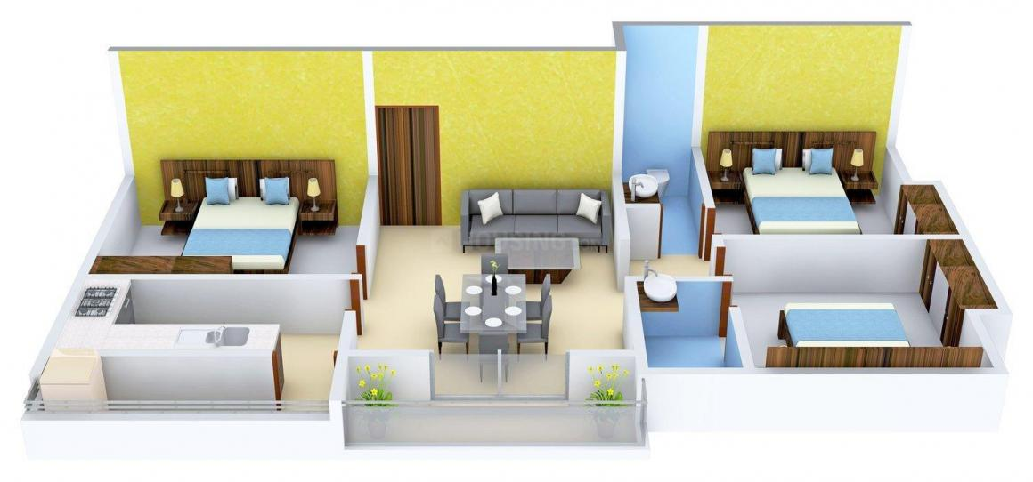 Golden Edifice Zion Floor Plan: 3 BHK Unit with Built up area of 1100 sq.ft 1