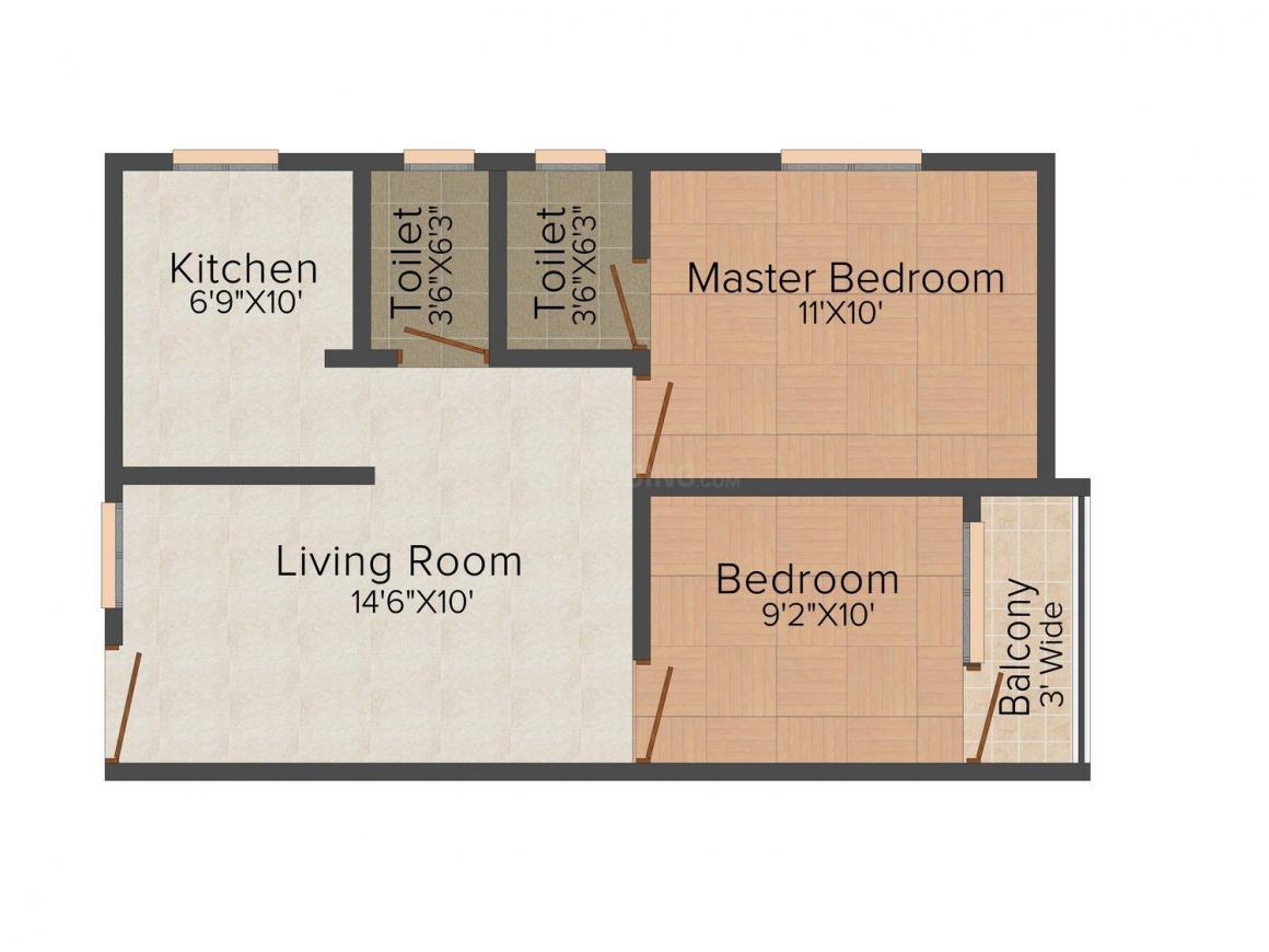 Floor Plan Image of 600.0 - 760.0 Sq.ft 2 BHK Apartment for buy in Sri Shiva Jyothi Nilayam