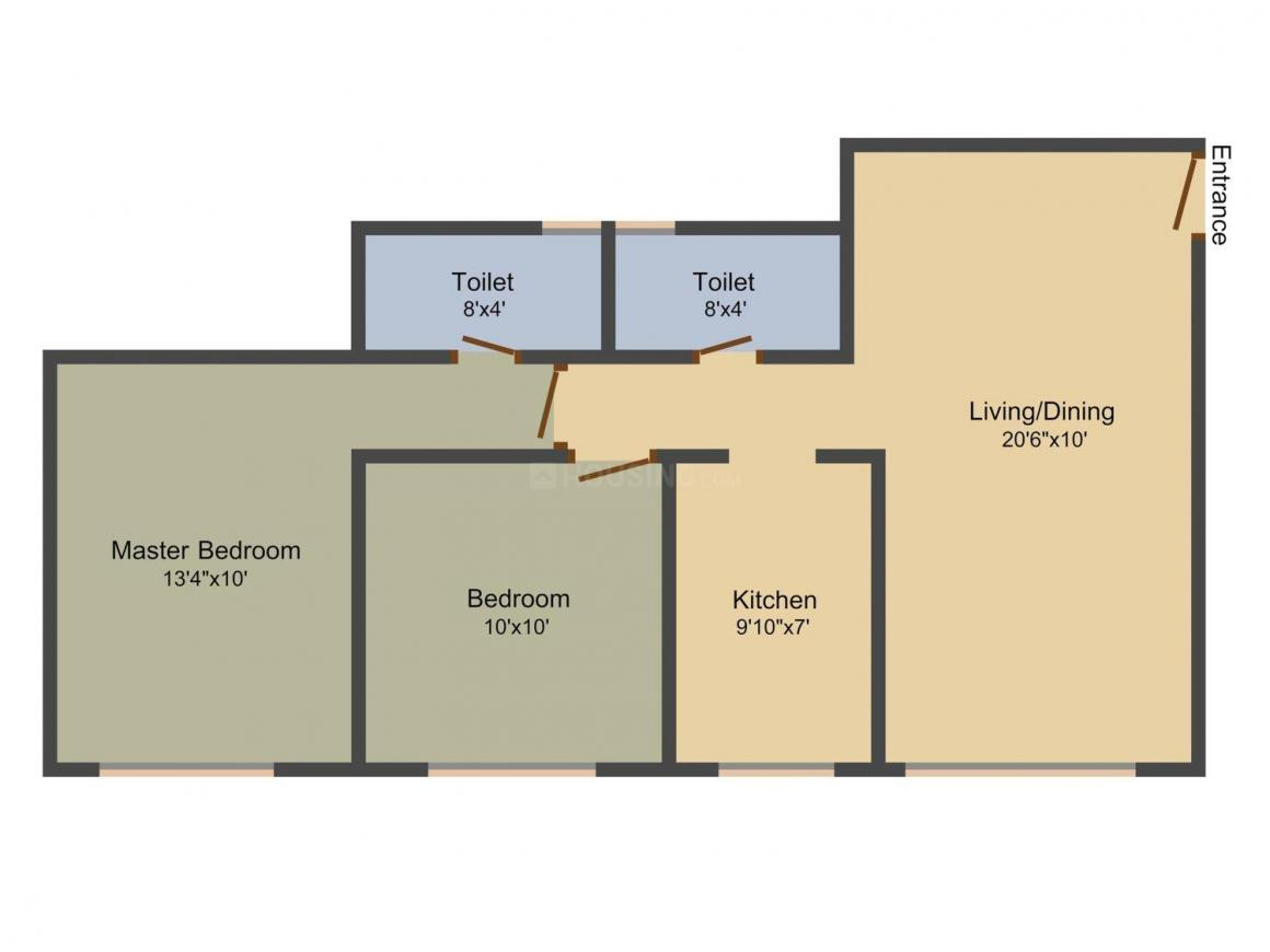 Floor Plan Image of 436 - 1040.55 Sq.ft 1 BHK Apartment for buy in