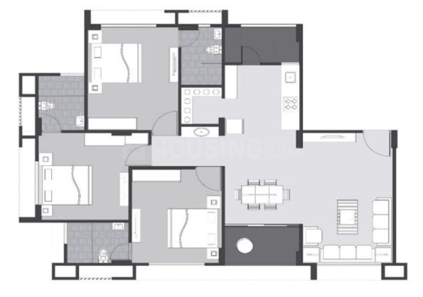 Sangath Pine Floor Plan: 3 BHK Unit with Built up area of 2052 sq.ft 1