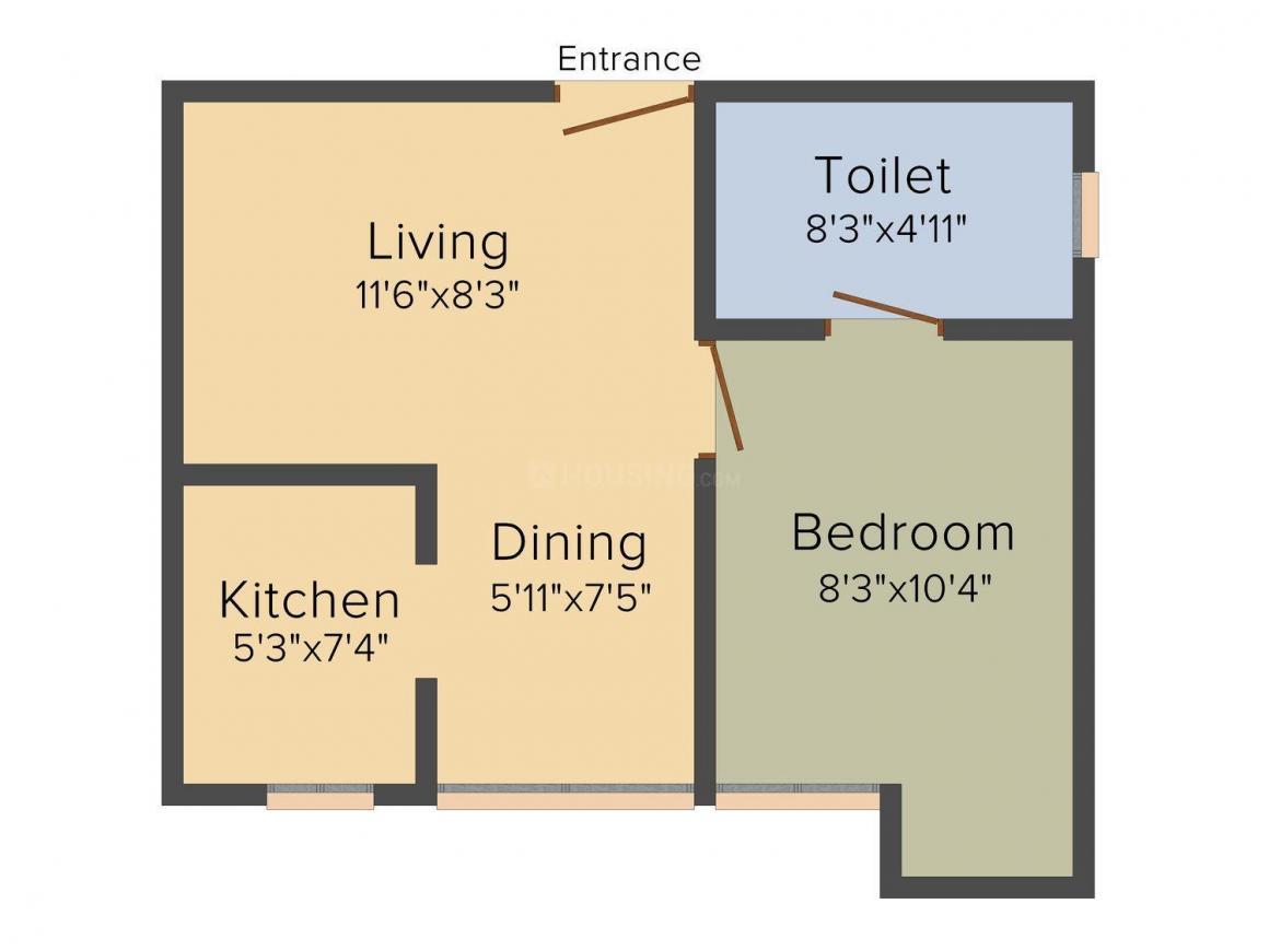 Arun Excello Saranga Floor Plan: 1 BHK Unit with Built up area of 475 sq.ft 1