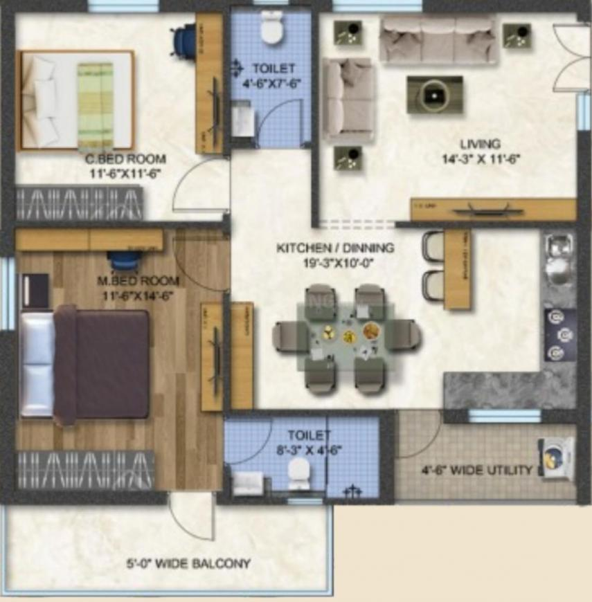 Aaditris Empire Floor Plan: 2 BHK Unit with Built up area of 1250 sq.ft 1