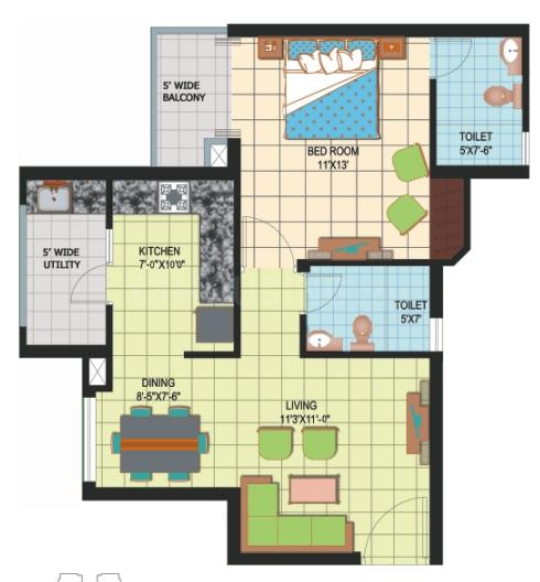 Amrapali Silicon City Floor Plan: 1 BHK Unit with Built up area of 815 sq.ft 1