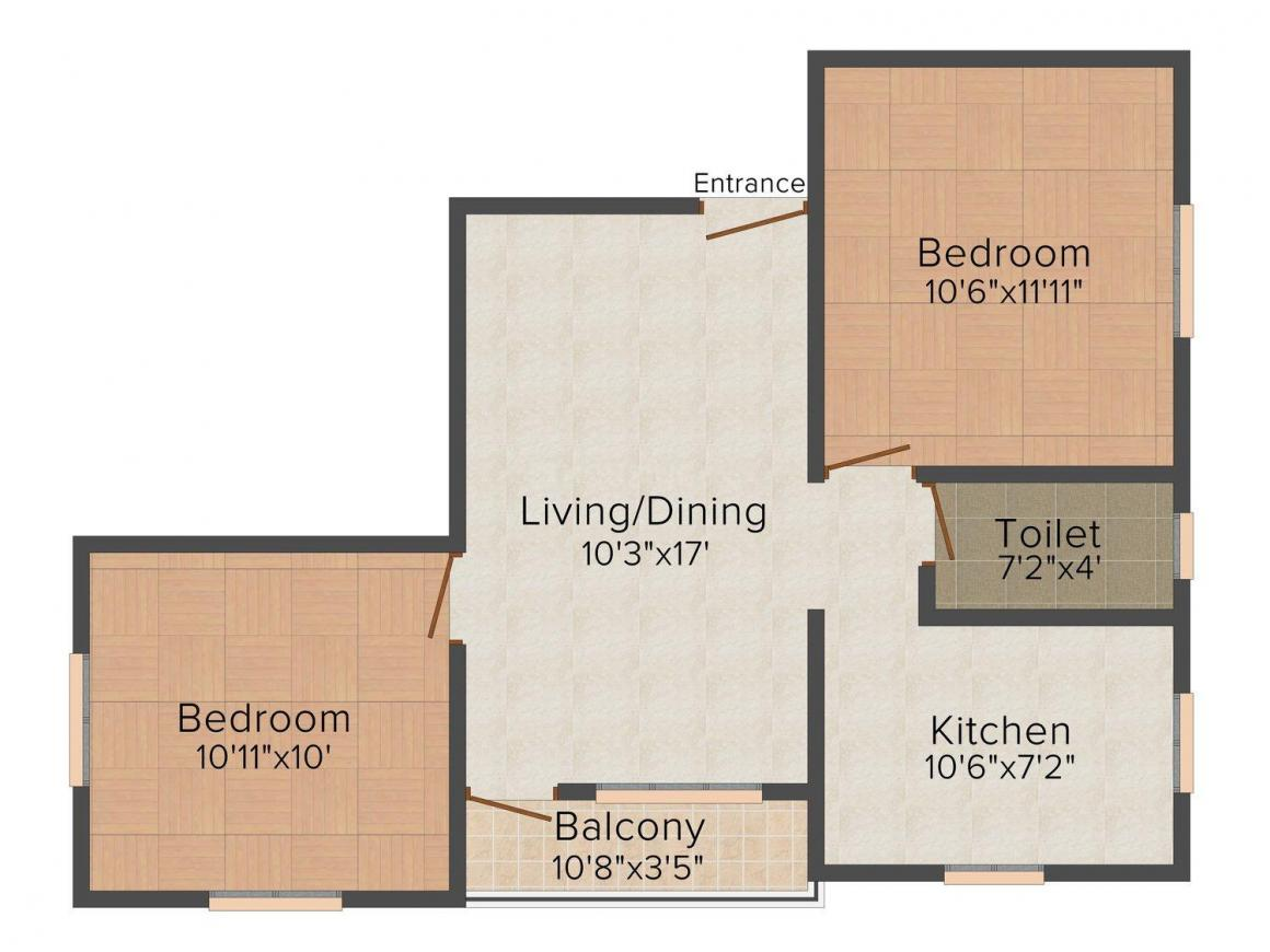 Floor Plan Image of 780.0 - 1275.0 Sq.ft 2 BHK Apartment for buy in S.Promoters Sahana I