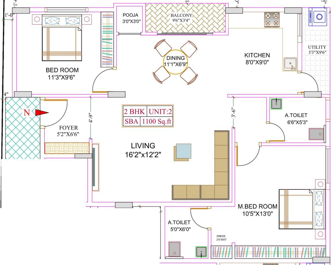 Lucky Homes Floor Plan: 2 BHK Unit with Built up area of 1100 sq.ft 1