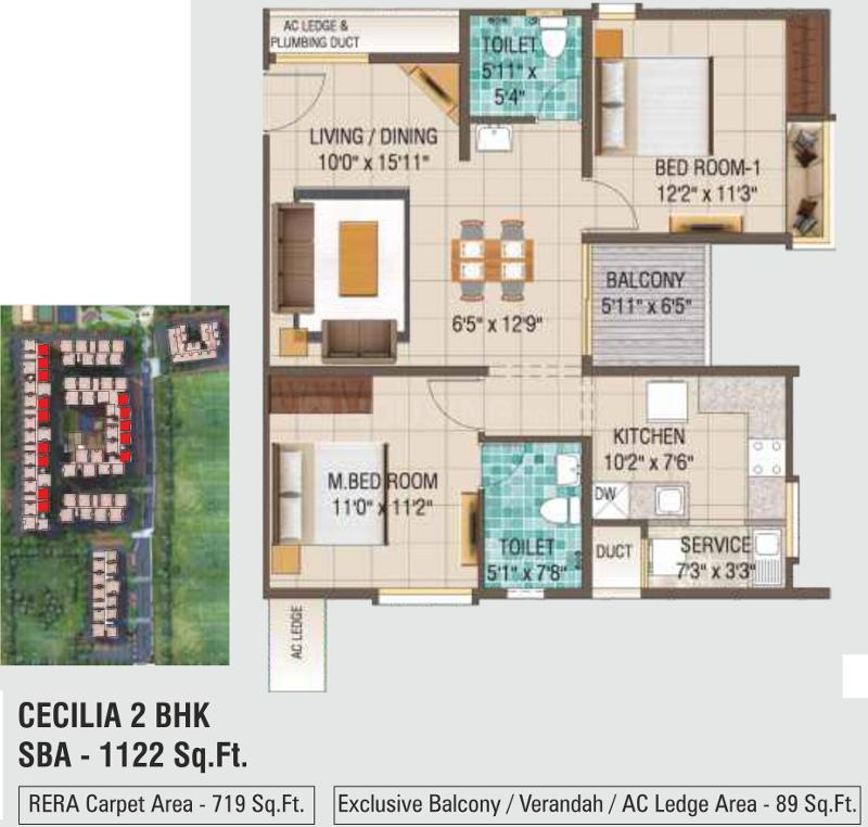 Alliance Galleria Residences Floor Plan: 2 BHK Unit with Built up area of 719 sq.ft 1