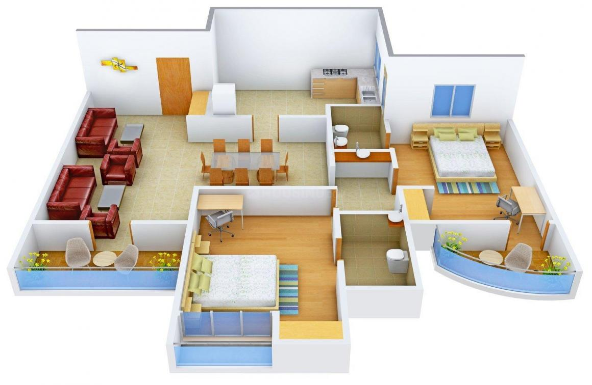 Floor Plan Image of 1339 - 1799 Sq.ft 2 BHK Apartment for buy in Olive Anna