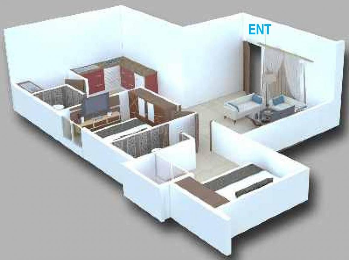 Kushi K G Serenity Floor Plan: 2 BHK Unit with Built up area of 990 sq.ft 1