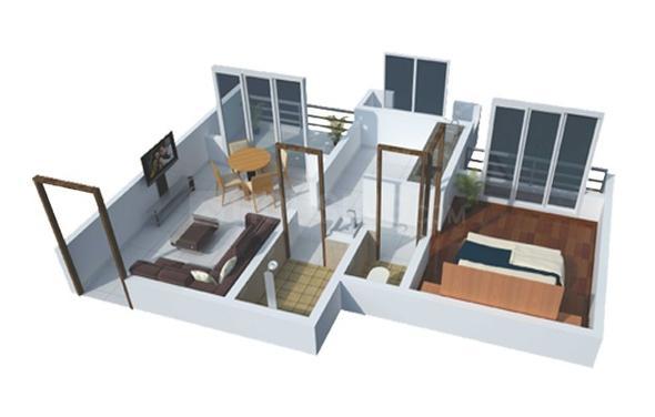 Jewel Vista Floor Plan: 1 BHK Unit with Built up area of 297 sq.ft 1