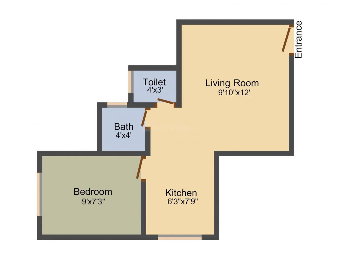 Floor Plan Image of 470.0 - 840.0 Sq.ft 1 RK Apartment for buy in Rupji Astha