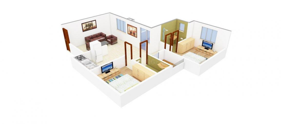 Ashish Constructions Promoters And Builders Ecstasy Floor Plan: 2 BHK Unit with Built up area of 1035 sq.ft 1