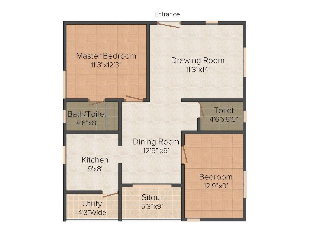Floor Plan Image of 1040.0 - 1390.0 Sq.ft 2 BHK Apartment for buy in Satya Shell Park