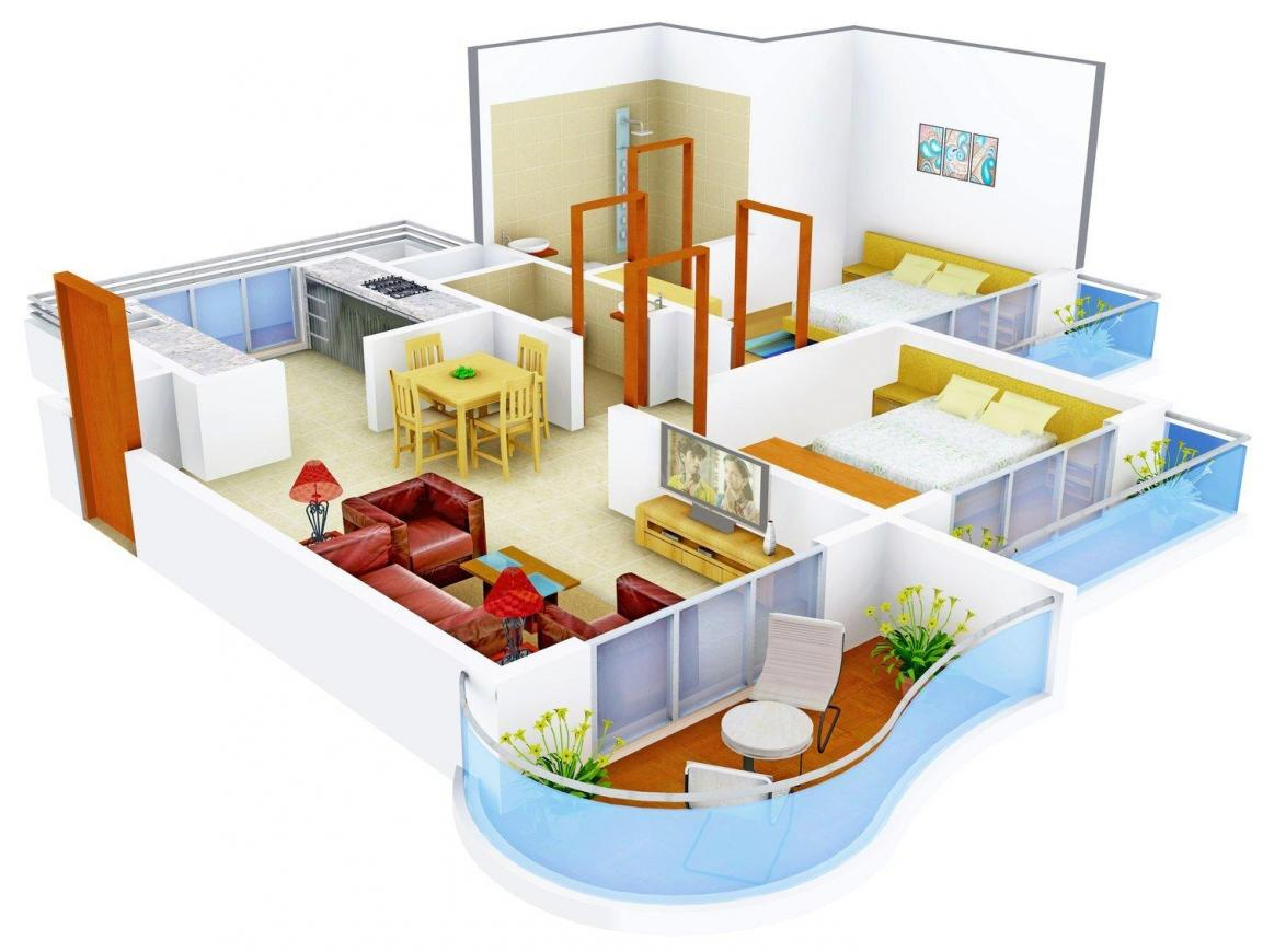Floor Plan Image of 1100.0 - 1156.0 Sq.ft 2 BHK Apartment for buy in Monarch Orchid