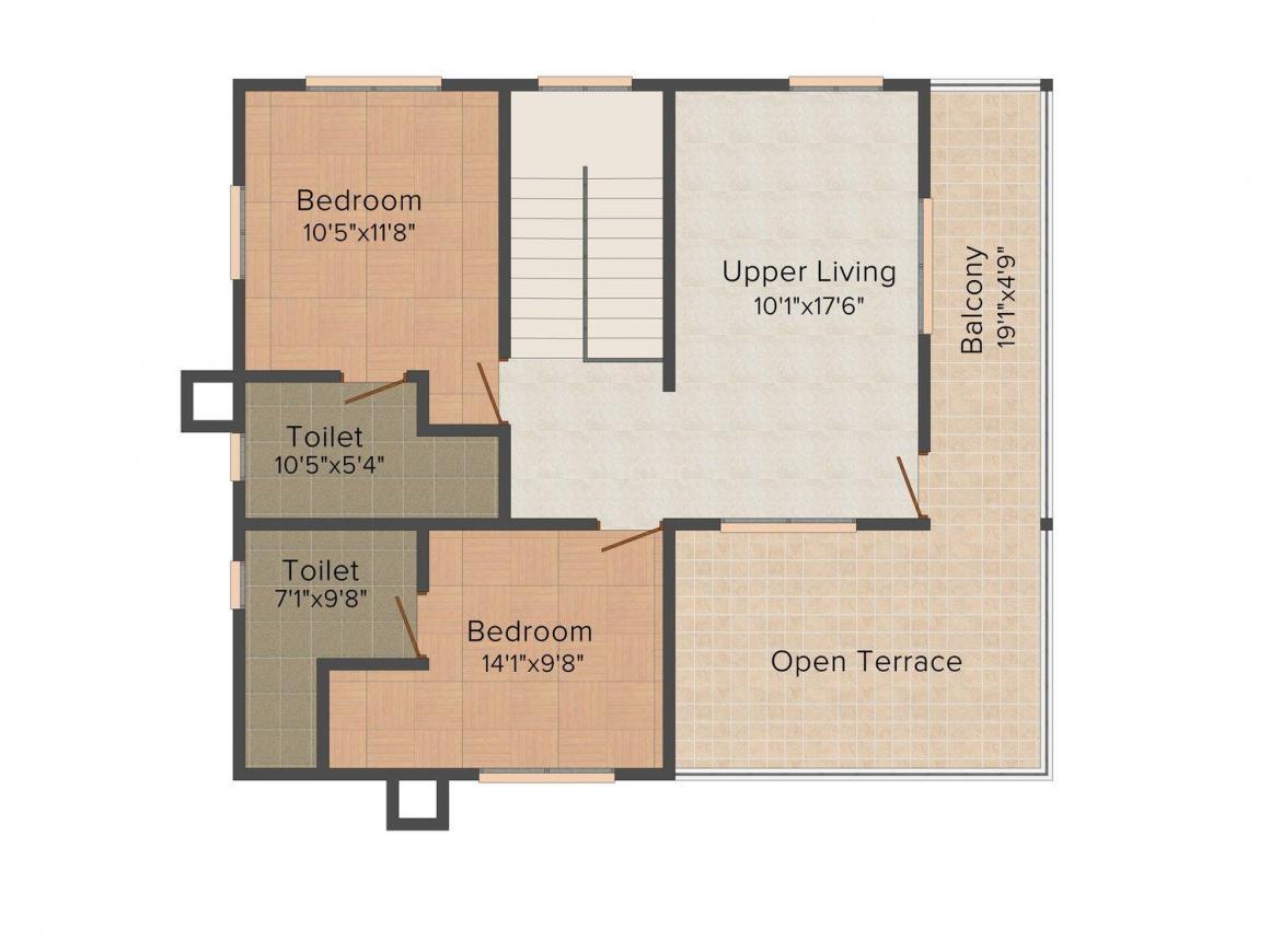 Floor Plan Image of 1890.0 - 2030.0 Sq.ft 3 BHK Villa for buy in MIR Pebble Garden