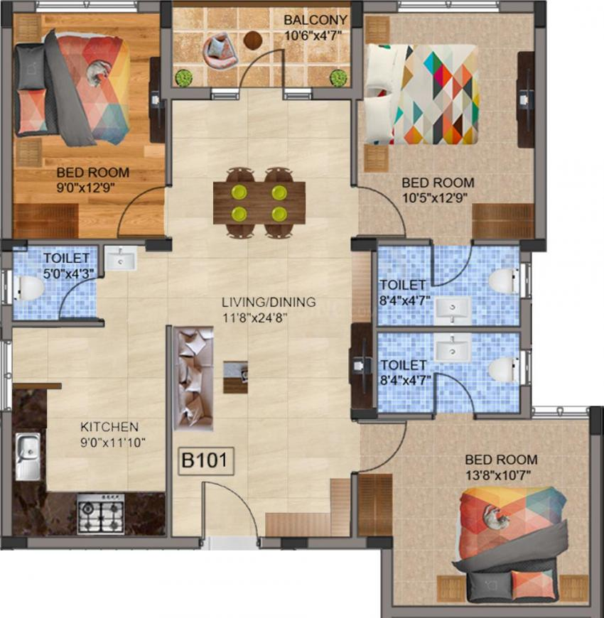 Bharathi Brikhouse Floor Plan: 3 BHK Unit with Built up area of 902 sq.ft 1
