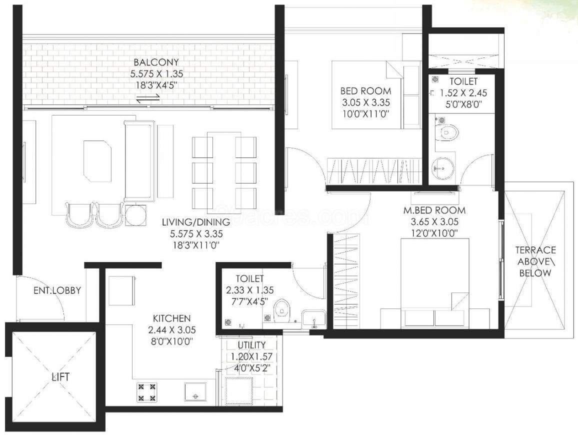 Gagan Klara Floor Plan: 2 BHK Unit with Built up area of 672 sq.ft 1