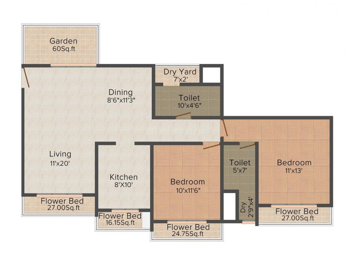 Floor Plan Image of 840.0 - 1750.0 Sq.ft 2 BHK Apartment for buy in Nandivardhan Oasis Sapphire