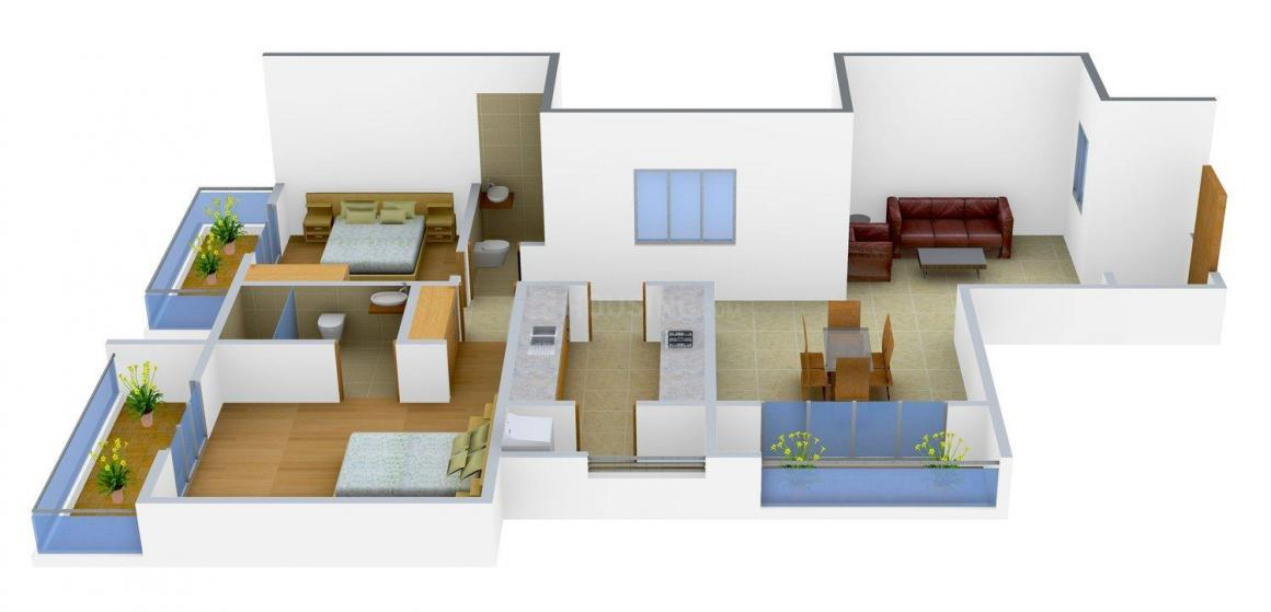Rajat Avenue 144  Floor Plan: 2 BHK Unit with Built up area of 1410 sq.ft 1