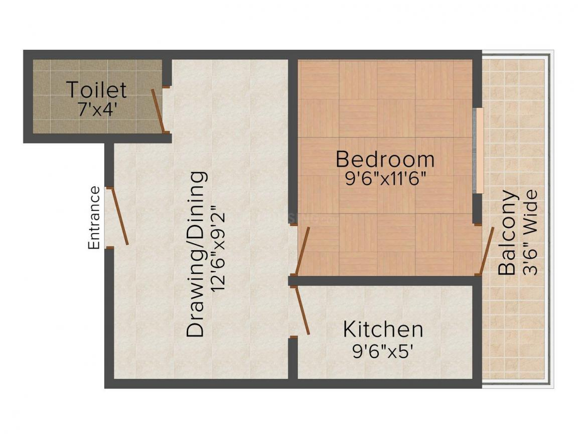 Floor Plan Image of 0 - 450 Sq.ft 1 BHK Independent Floor for buy in GND Apartment - 2