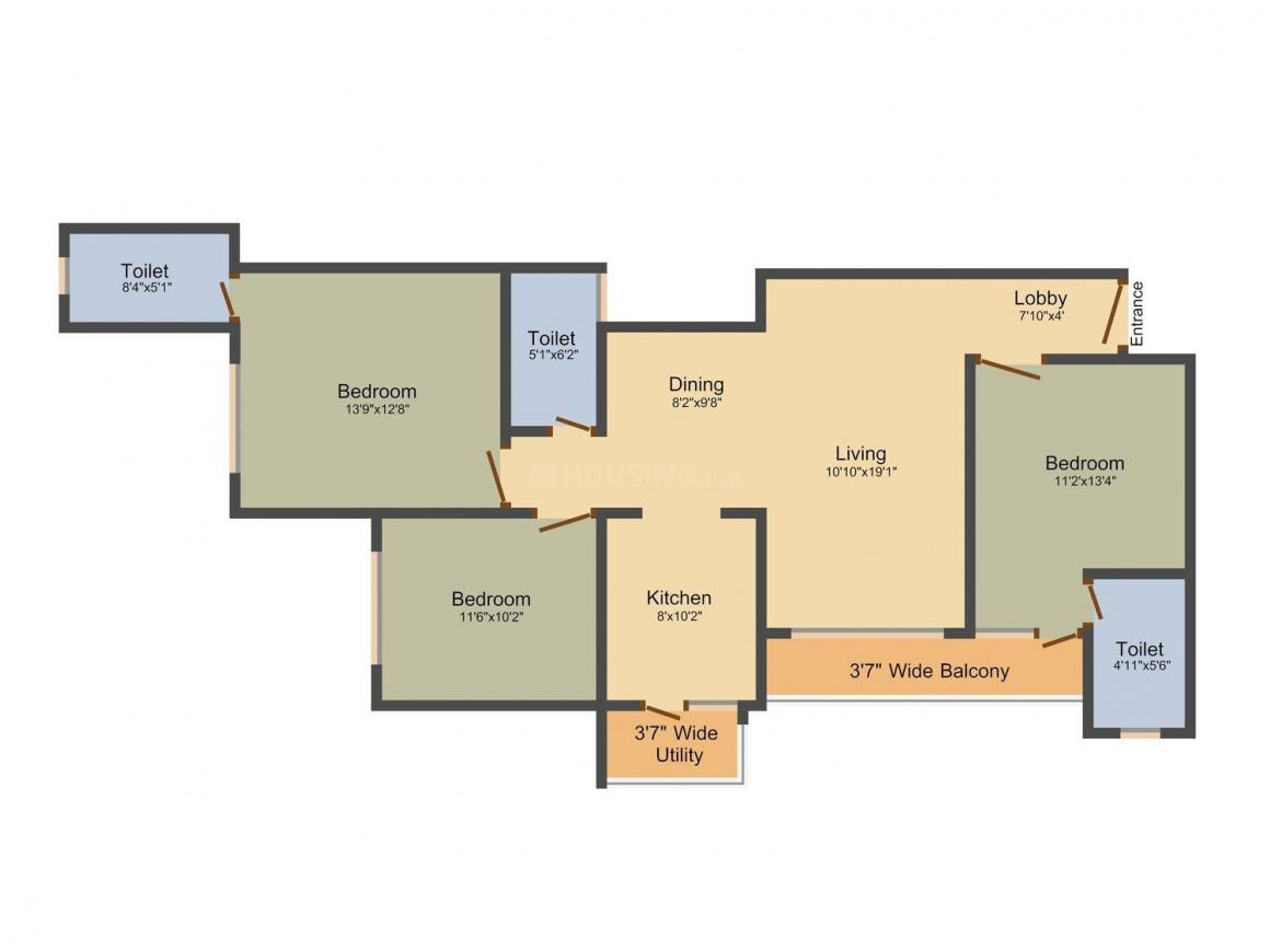 Floor Plan Image of 1032 - 1386 Sq.ft 2 BHK Apartment for buy in Skyline Water Front