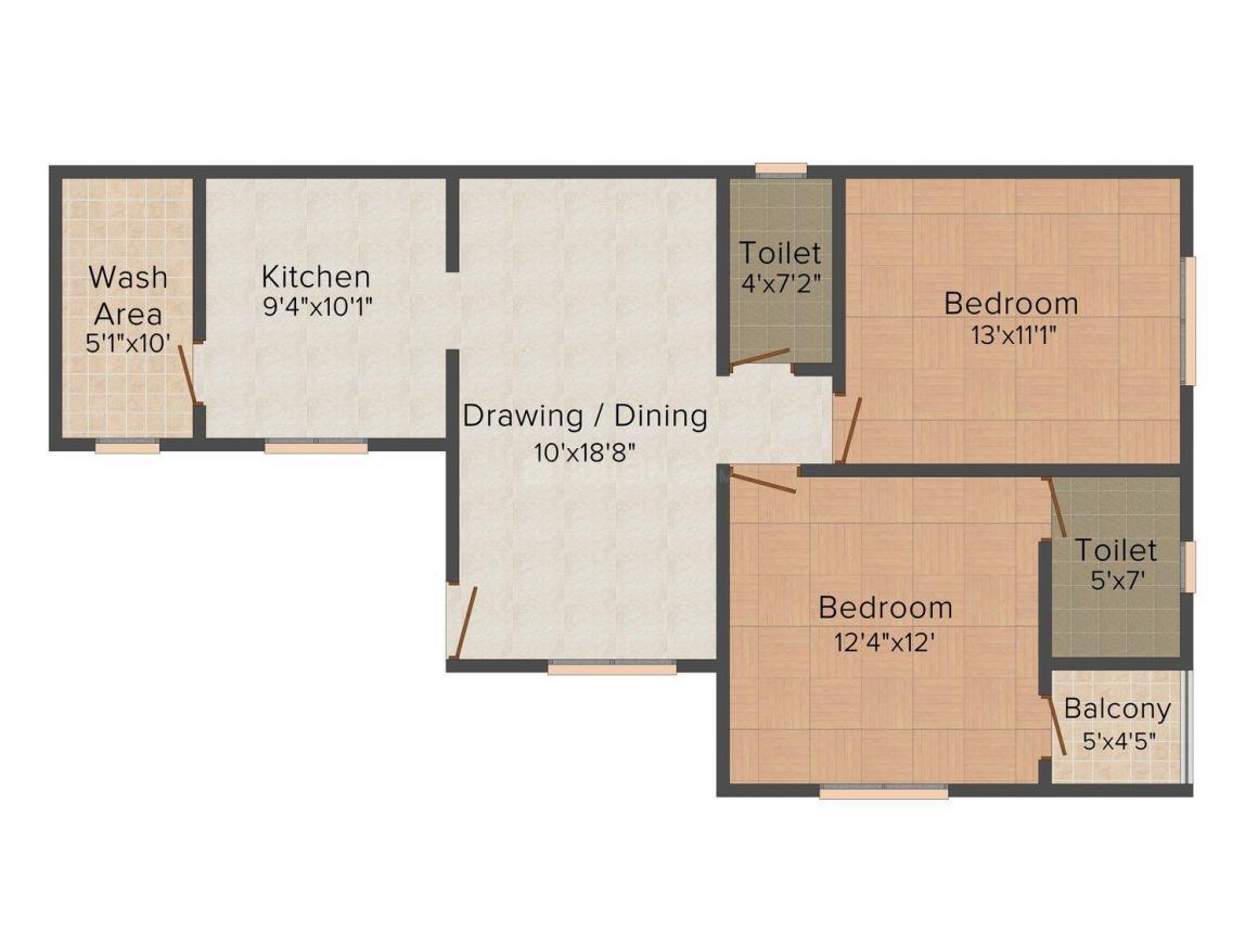 Floor Plan Image of 1110 - 1530 Sq.ft 2 BHK Apartment for buy in Shri Vallabh Garden