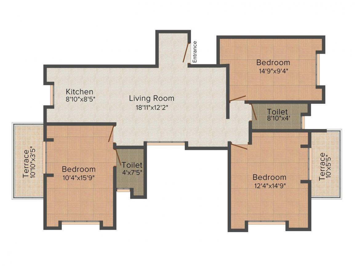 Yugal Suryashail Floor Plan: 3 BHK Unit with Built up area of 1313 sq.ft 1