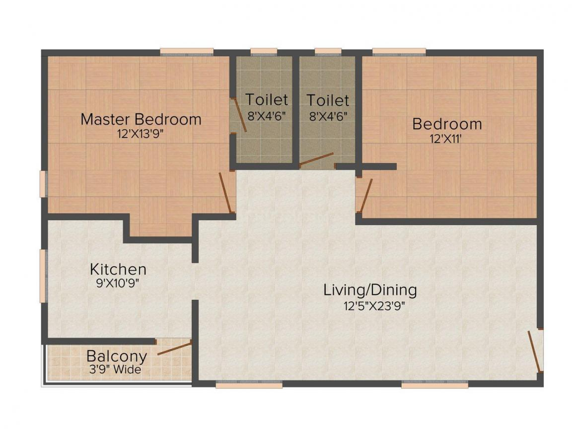 Floor Plan Image of 1145.0 - 1580.0 Sq.ft 2 BHK Apartment for buy in MJ Gardenia