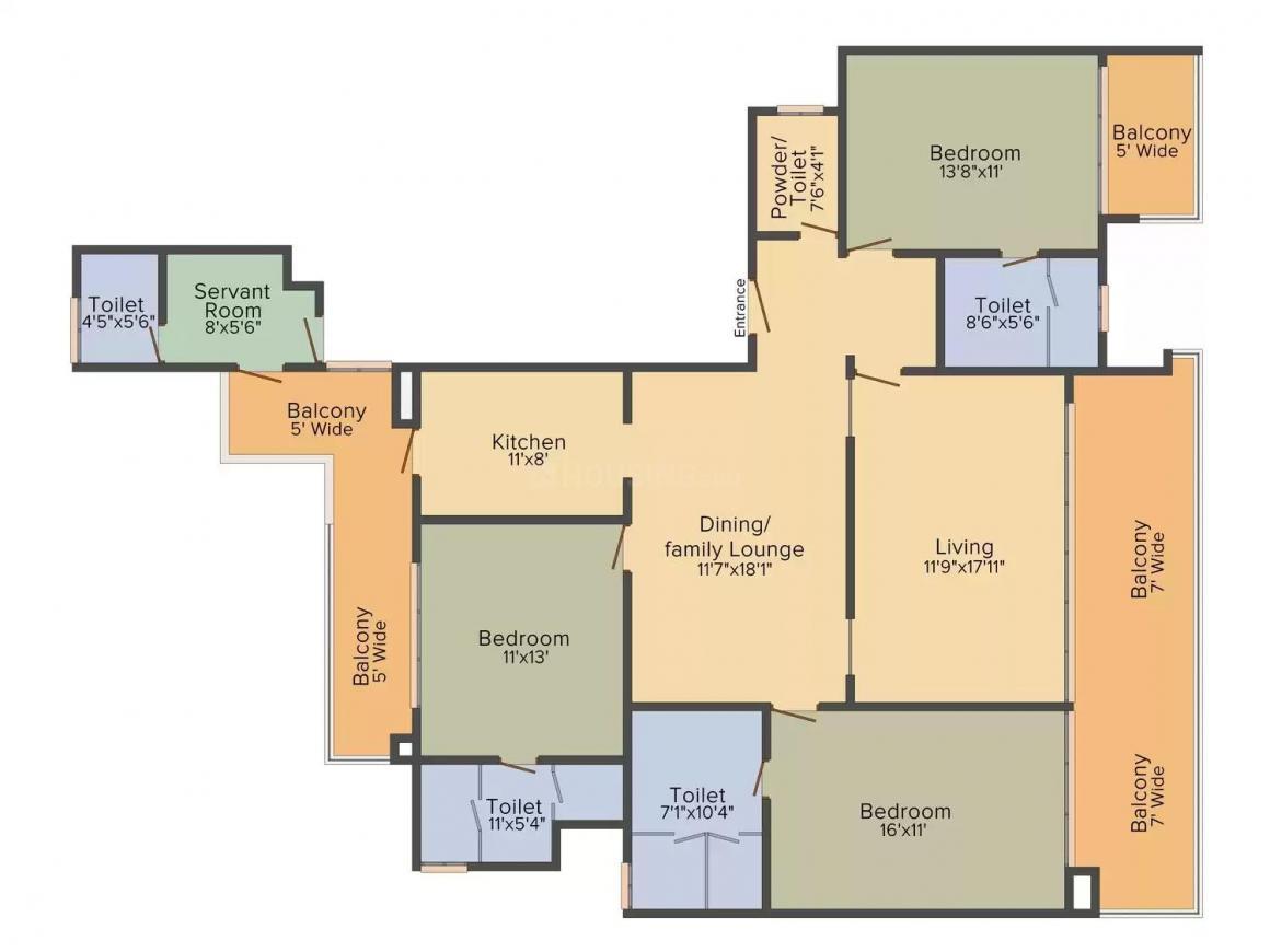 Mahagun Manorial Floor Plan: 3 BHK Unit with Built up area of 2700 sq.ft 1