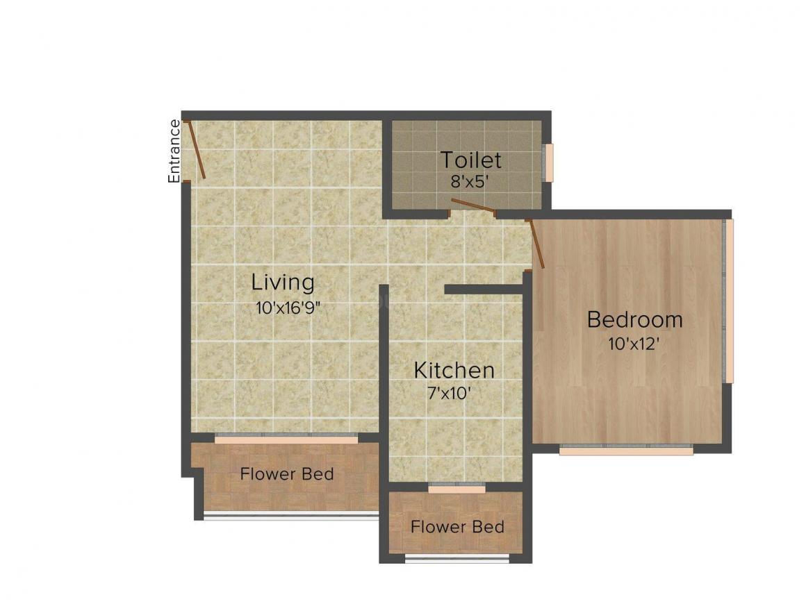 Floor Plan Image of 0 - 690 Sq.ft 1 BHK Apartment for buy in Stark K Raheja Residency