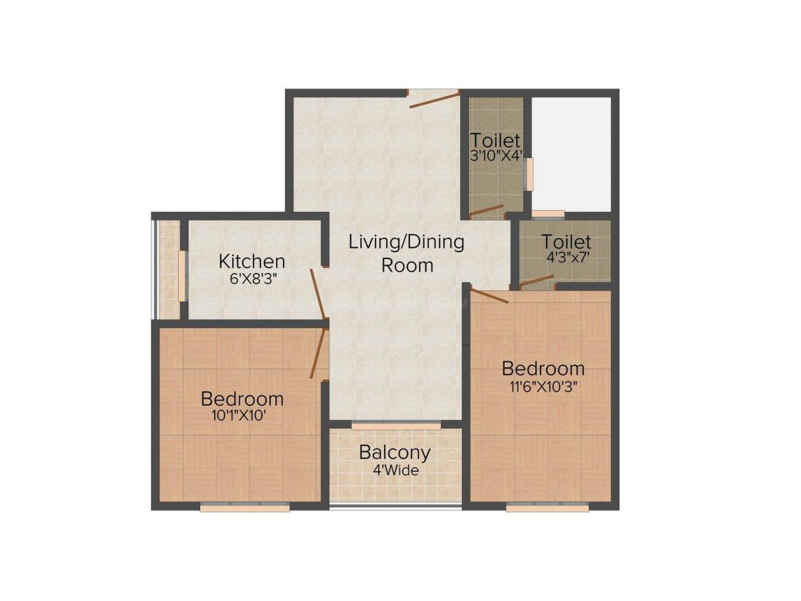 Floor Plan Image of 876.0 - 1364.0 Sq.ft 2 BHK Apartment for buy in Aspirations Harmony