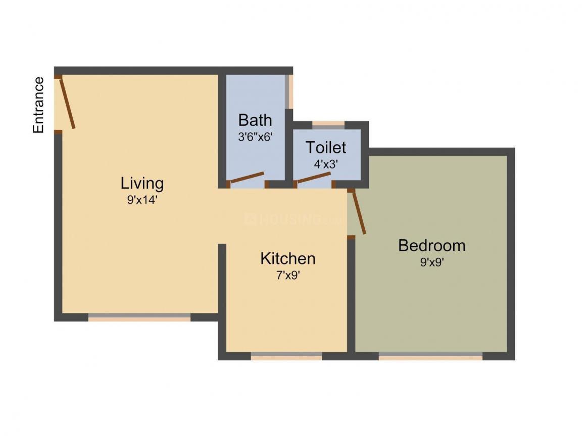 Om Sai Ganga Sadan  Floor Plan: 1 BHK Unit with Built up area of 550 sq.ft 1
