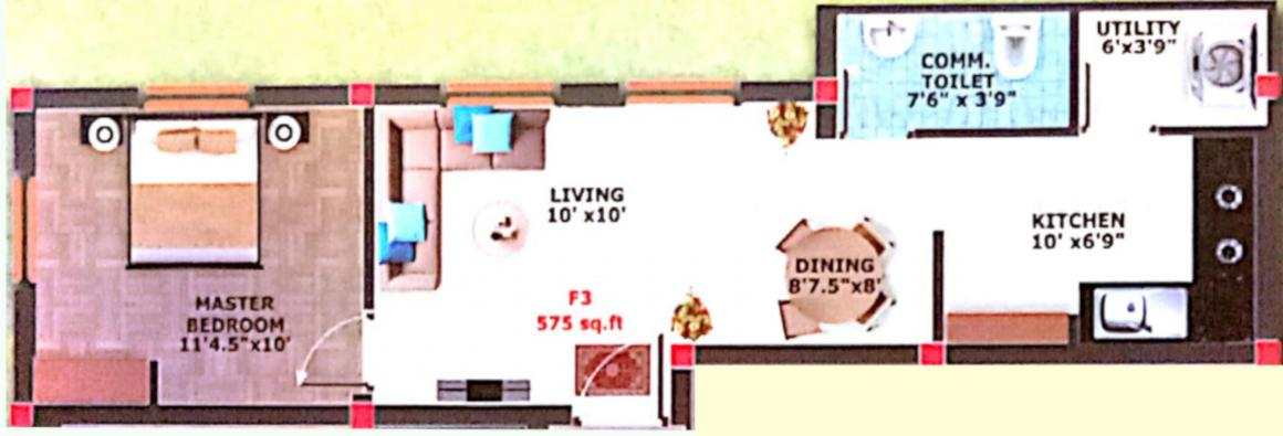 Vasiyam Flair Floor Plan: 1 BHK Unit with Built up area of 575 sq.ft 1
