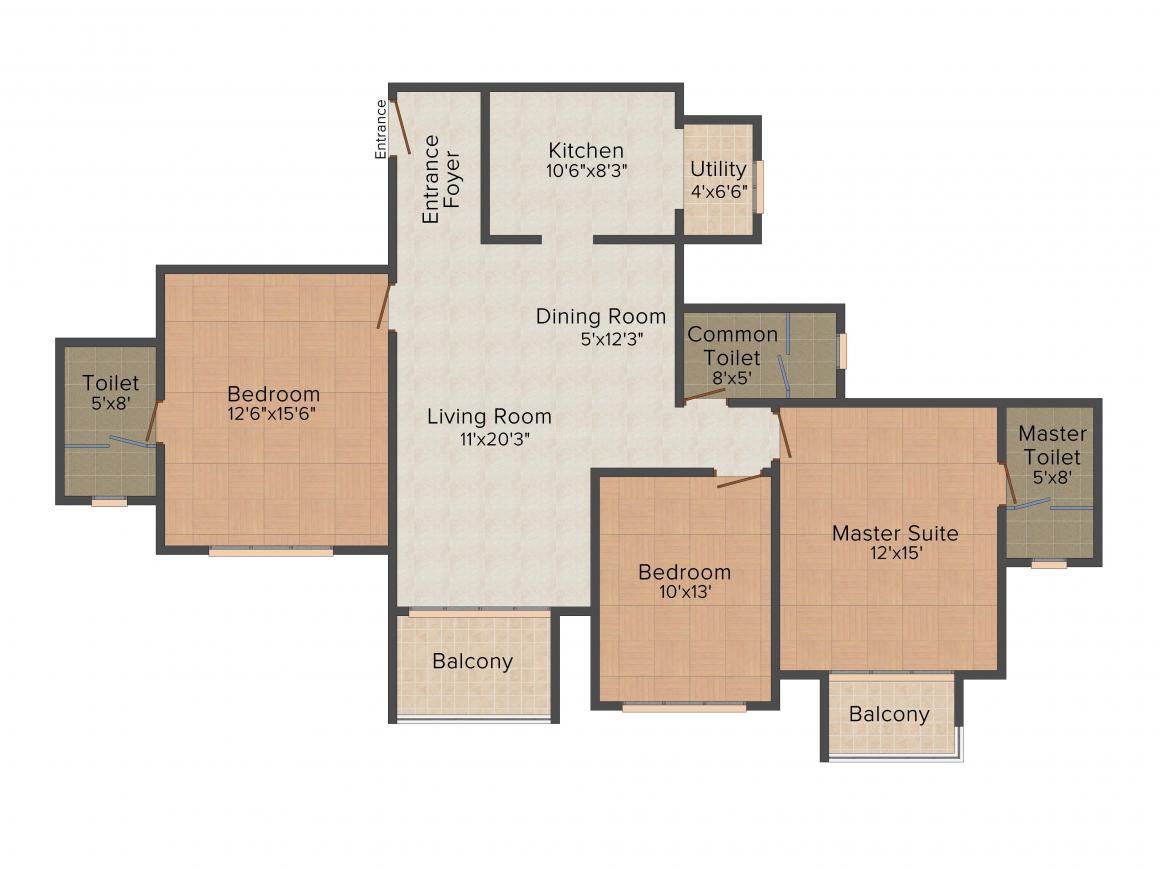 Floor Plan Image of 859 - 1208 Sq.ft 2 BHK Apartment for buy in Hiranandani Glen Gate
