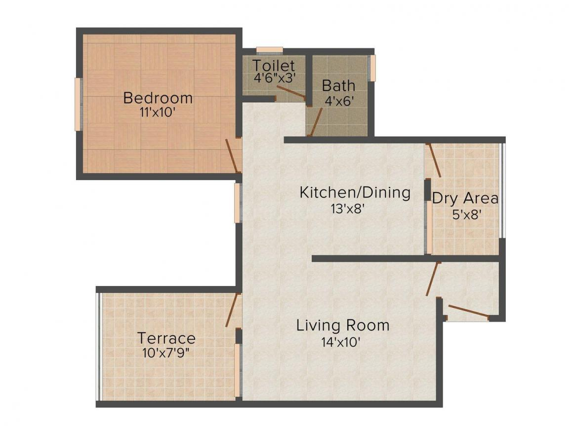 Sanjeevani Sangam Phase II Floor Plan: 1 BHK Unit with Built up area of 712 sq.ft 1
