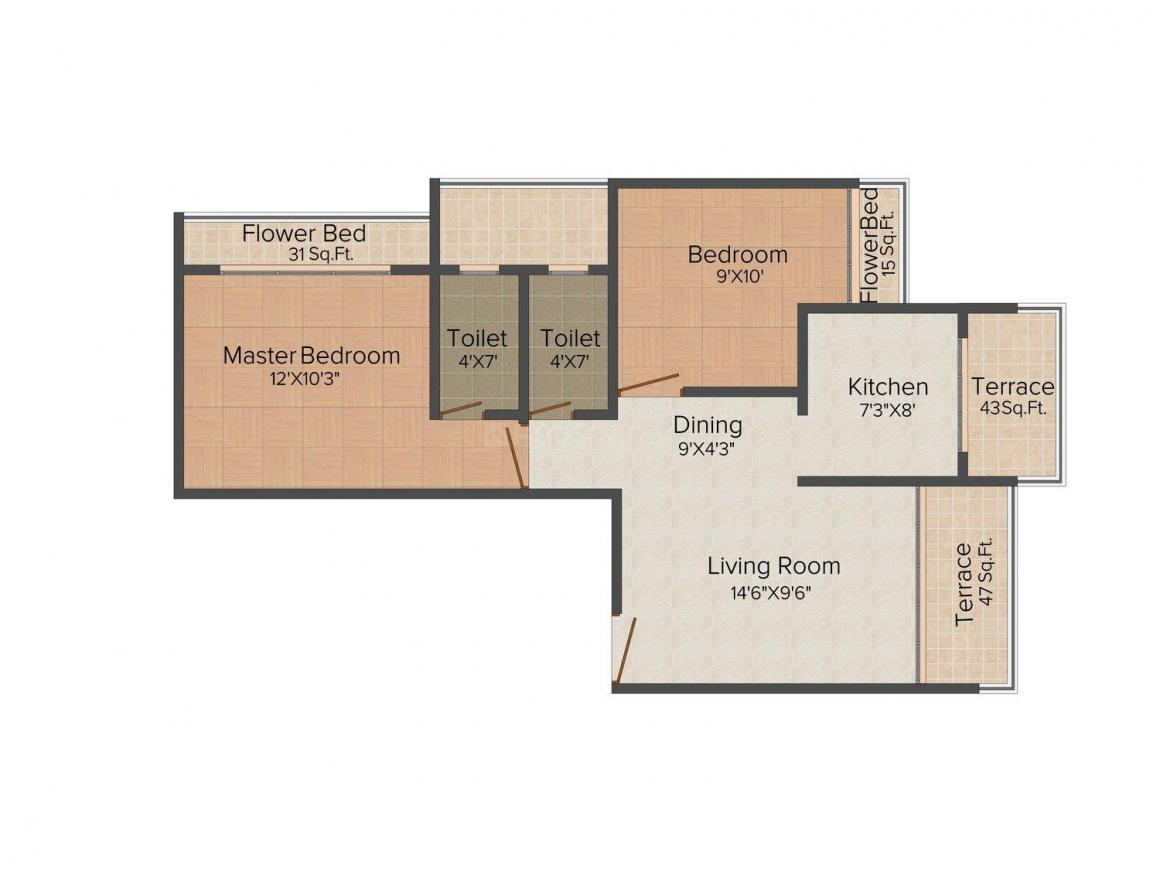 Floor Plan Image of 0 - 1144.0 Sq.ft 2 BHK Apartment for buy in Apollo One