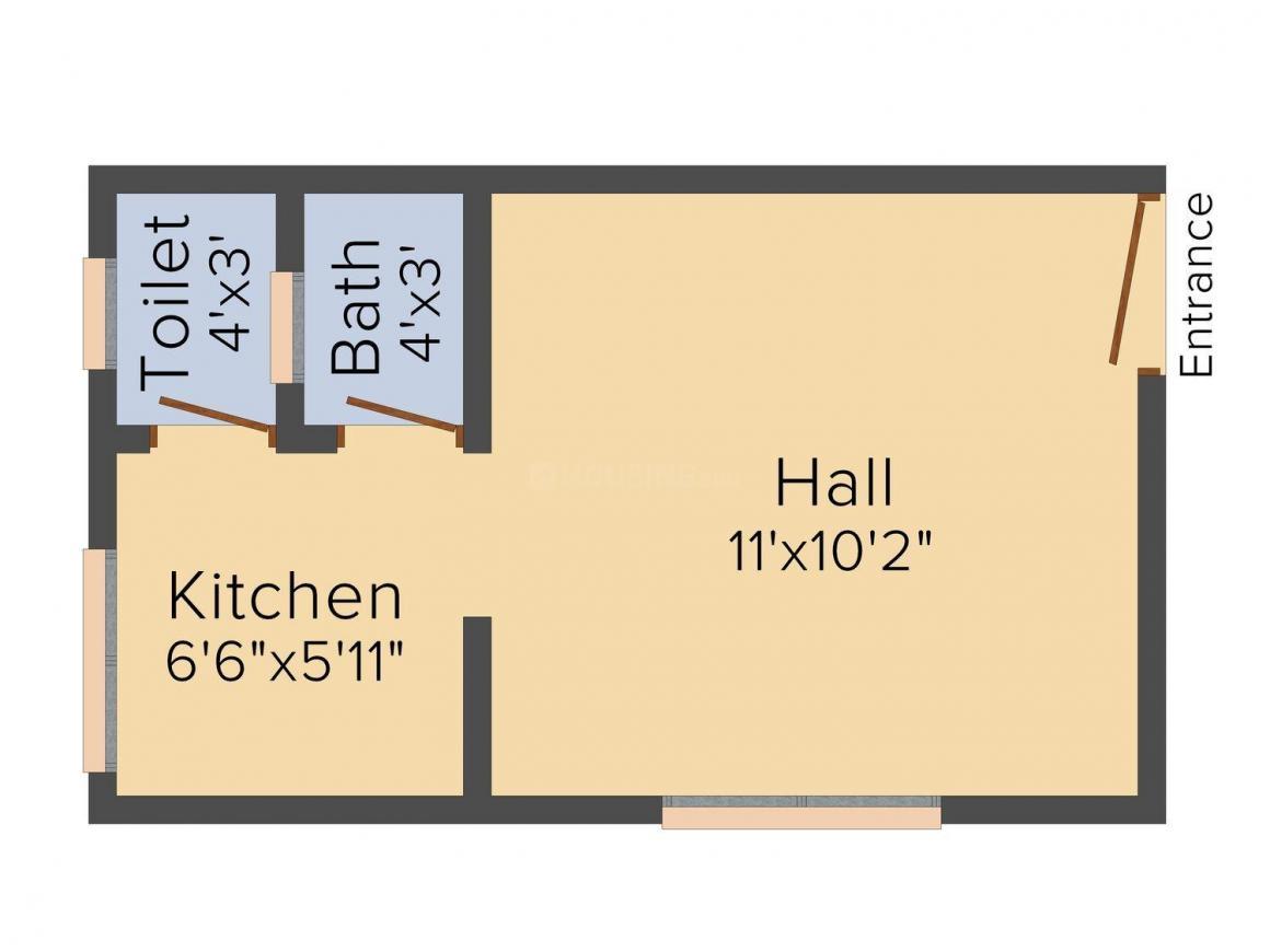 Floor Plan Image of 340 - 700 Sq.ft 1 RK Studio Apartment for buy in Shree Siddhi Apartment Mumbai