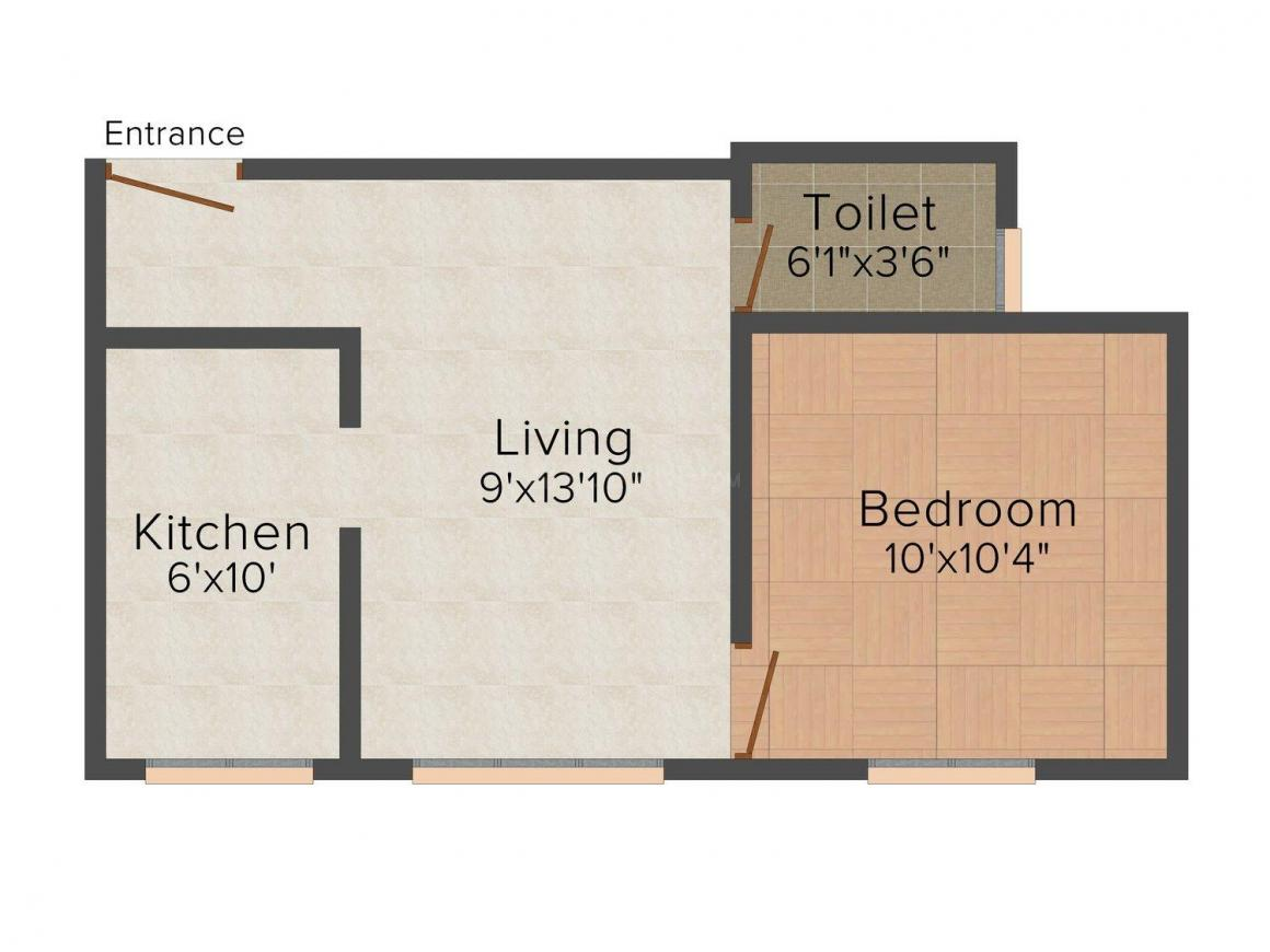 Ourhomes The Mars Floor Plan: 1 BHK Unit with Built up area of 470 sq.ft 1