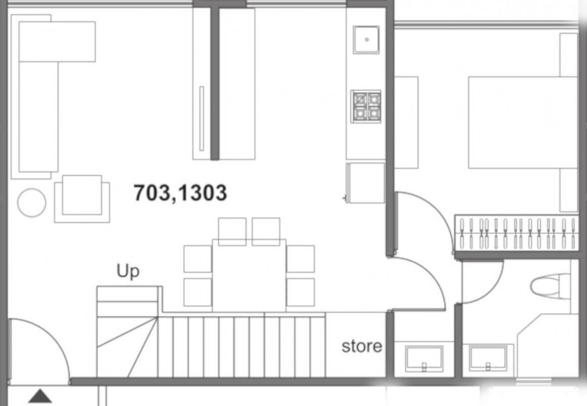 Mantra Montana Phase 6 Floor Plan: 2 BHK Unit with Built up area of 824 sq.ft 1