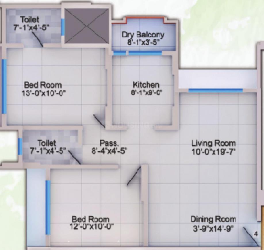 Prashanti Horizon Green Floor Plan: 2 BHK Unit with Built up area of 767 sq.ft 1