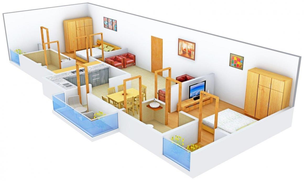 Floor Plan Image of 0 - 1160 Sq.ft 2 BHK Apartment for buy in Maruti The Signature Living
