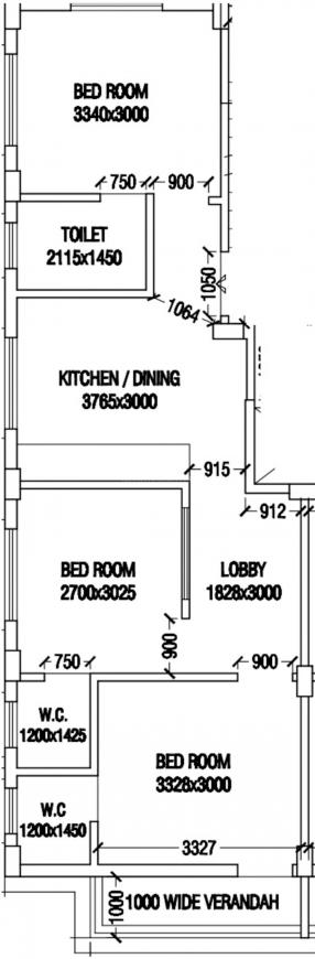 Iris Charulata Co Operative Housing Society Floor Plan: 3 BHK Unit with Built up area of 1500 sq.ft 1