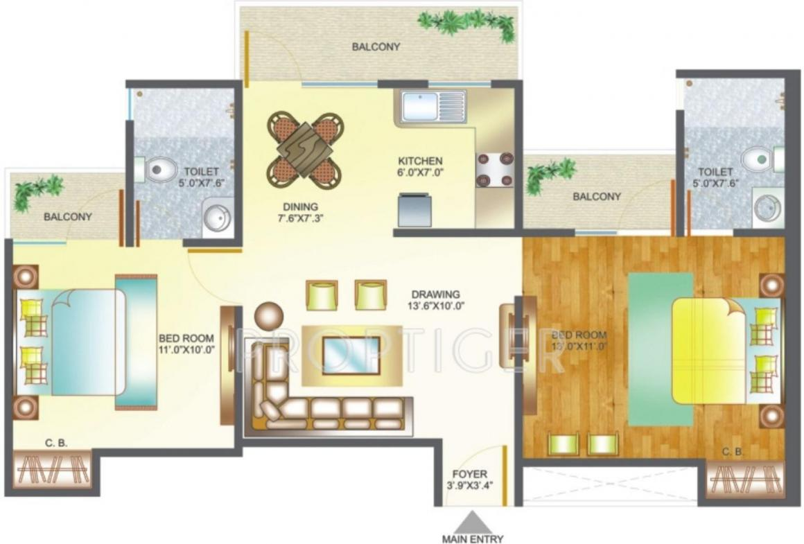 Amrapali Pan Oasis Floor Plan: 2 BHK Unit with Built up area of 995 sq.ft 1