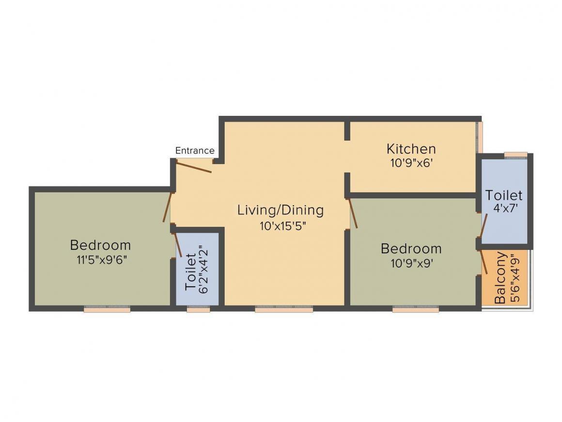 Arjun Amitthiru Floor Plan: 2 BHK Unit with Built up area of 740 sq.ft 1