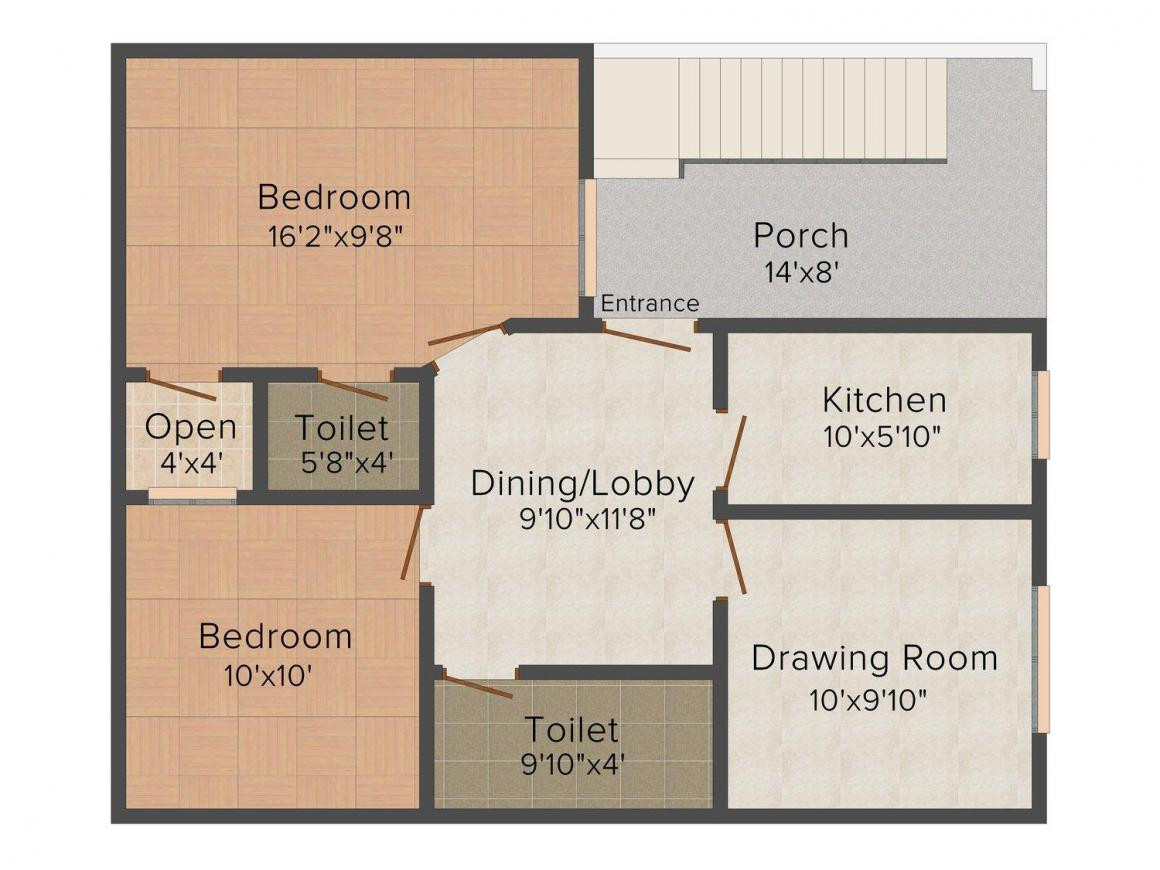 Sidhyansh Shree Ved City Floor Plan: 2 BHK Unit with Built up area of 1100 sq.ft 1