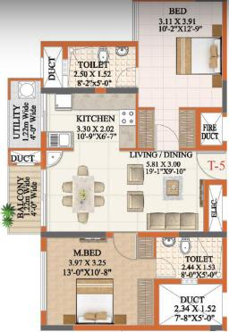 Ahad Opus Floor Plan: 2 BHK Unit with Built up area of 1048 sq.ft 1
